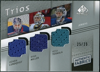 2008/09 Upper Deck SP Game Used Authentic Fabrics Trios #TLM Henrik Lundqvist Ryan Miller Vesa Toskala /25