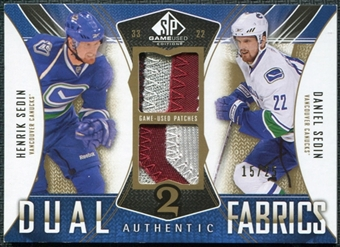 2009/10 Upper Deck SP Game Used Authentic Fabrics Dual Patches #AF2DH Henrik Sedin Daniel Sedin /25