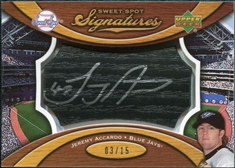 2007 Upper Deck Sweet Spot Signatures Black Bat Barrel Silver Ink #JA Jeremy Accardo /15