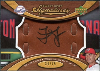 2007 Upper Deck Sweet Spot Signatures Glove Leather Black Ink #FL Felipe Lopez /75