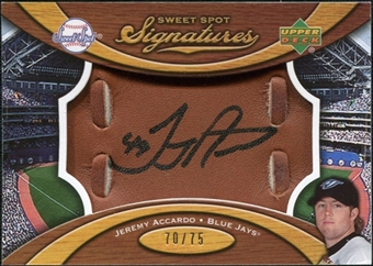 2007 Upper Deck Sweet Spot Signatures Glove Leather Black Ink #JA Jeremy Accardo /75