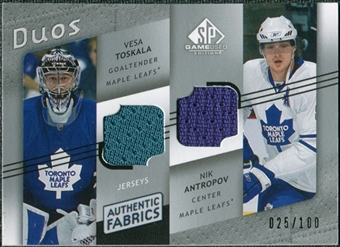2008/09 Upper Deck SP Game Used Authentic Fabrics Duos #AN Vesa Toskala Nik Antropov /100