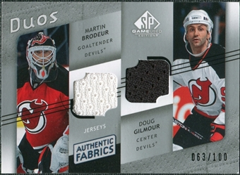 2008/09 Upper Deck SP Game Used Authentic Fabrics Duos #BG Martin Brodeur Doug Gilmour /100