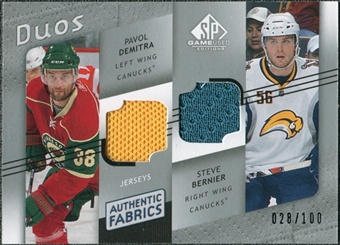 2008/09 Upper Deck SP Game Used Authentic Fabrics Duos #DB Pavol Demitra Steve Bernier /100