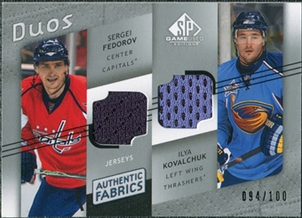 2008/09 Upper Deck SP Game Used Authentic Fabrics Duos #DK Sergei Fedorov Ilya Kovalchuk /100