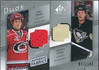 2008/09 Upper Deck SP Game Used Authentic Fabrics Duos #EJ Eric Staal Jordan Staal /100