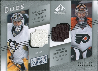 2008/09 Upper Deck SP Game Used Authentic Fabrics Duos #FN Marc-Andre Fleury Antero Niittymaki /100