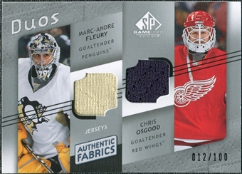 2008/09 Upper Deck SP Game Used Authentic Fabrics Duos #FO Marc-Andre Fleury Chris Osgood /100