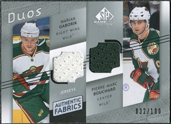2008/09 Upper Deck SP Game Used Authentic Fabrics Duos #GB Marian Gaborik Pierre-Marc Bouchard /100