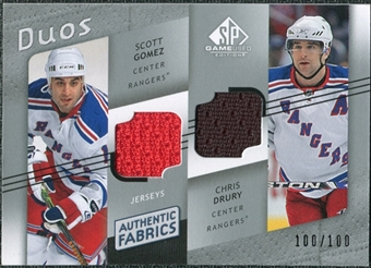 2008/09 Upper Deck SP Game Used Authentic Fabrics Duos #GD Scott Gomez Chris Drury /100