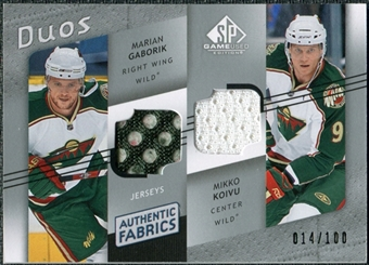 2008/09 Upper Deck SP Game Used Authentic Fabrics Duos #GK Marian Gaborik Mikko Koivu /100