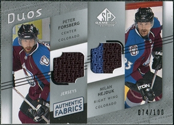 2008/09 Upper Deck SP Game Used Authentic Fabrics Duos #HF Peter Forsberg Milan Hejduk /100