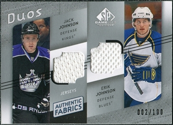 2008/09 Upper Deck SP Game Used Authentic Fabrics Duos #JJ Jack Johnson Erik Johnson /100