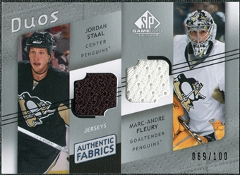 2008/09 Upper Deck SP Game Used Authentic Fabrics Duos #JM Jordan Staal Marc-Andre Fleury /100