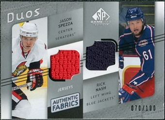 2008/09 Upper Deck SP Game Used Authentic Fabrics Duos #JR Jason Spezza Rick Nash /100