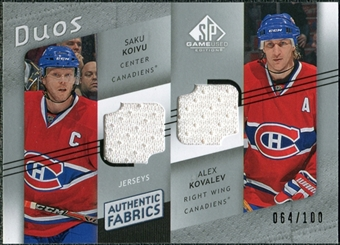 2008/09 Upper Deck SP Game Used Authentic Fabrics Duos #KK Saku Koivu Alex Kovalev /100