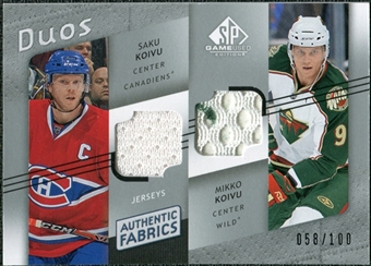 2008/09 Upper Deck SP Game Used Authentic Fabrics Duos #KV Saku Koivu Mikko Koivu /100