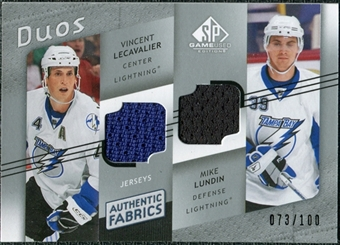 2008/09 Upper Deck SP Game Used Authentic Fabrics Duos #LI Vincent Lecavalier Mike Lundin /100