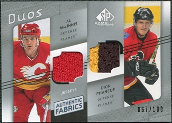 2008/09 Upper Deck SP Game Used Authentic Fabrics Duos #MP Al MacInnis Dion Phaneuf /100