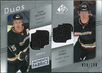 2008/09 Upper Deck SP Game Used Authentic Fabrics Duos #PG Ryan Getzlaf Corey Perry /100