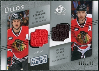 2008/09 Upper Deck SP Game Used Authentic Fabrics Duos #PS Patrick Sharp Brent Seabrook /100