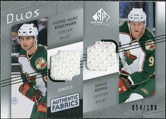 2008/09 Upper Deck SP Game Used Authentic Fabrics Duos #RB Pierre-Marc Bouchard Mikko Koivu /100
