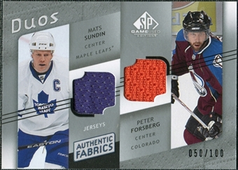 2008/09 Upper Deck SP Game Used Authentic Fabrics Duos #SF Mats Sundin Peter Forsberg /100