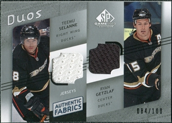 2008/09 Upper Deck SP Game Used Authentic Fabrics Duos #SG Teemu Selanne Ryan Getzlaf /100