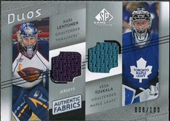 2008/09 Upper Deck SP Game Used Authentic Fabrics Duos #TL Kari Lehtonen Vesa Toskala /100