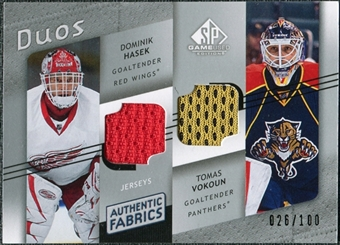 2008/09 Upper Deck SP Game Used Authentic Fabrics Duos #VH Dominik Hasek Tomas Vokoun /100