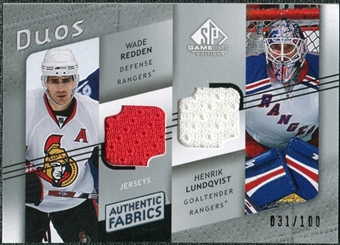 2008/09 Upper Deck SP Game Used Authentic Fabrics Duos #WL Wade Redden Henrik Lundqvist /100