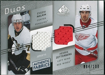 2008/09 Upper Deck SP Game Used Authentic Fabrics Duos #ZC Evgeni Malkin Henrik Zetterberg /100