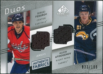 2008/09 Upper Deck SP Game Used Authentic Fabrics Duos #ZF Sergei Fedorov Maxim Afinogenov /100