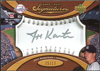 2007 Upper Deck Sweet Spot Signatures Silver Stitch Silver Ink #KA Jeff Karstens /17