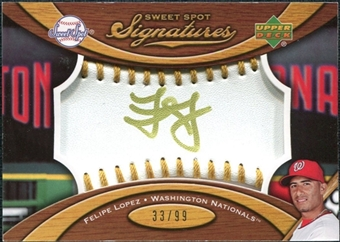 2007 Upper Deck Sweet Spot Signatures Gold Stitch Gold Ink #FL Felipe Lopez /99