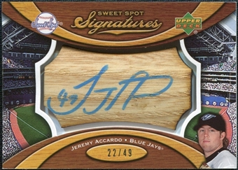2007 Upper Deck Sweet Spot Signatures Bat Barrel Blue Ink #JA Jeremy Accardos /49