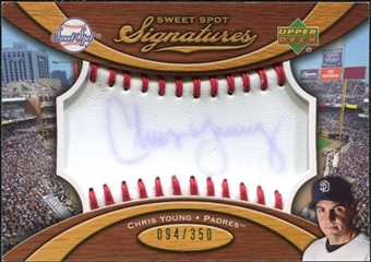 2007 Upper Deck Sweet Spot Signatures Red Stitch Blue Ink #CY Chris Young Autograph /350