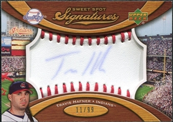 2007 Upper Deck Sweet Spot Signatures Red Stitch Blue Ink #HA Travis Hafner Autograph /99