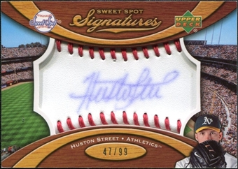 2007 Upper Deck Sweet Spot Signatures Red Stitch Blue Ink #HS Huston Street Autograph /99