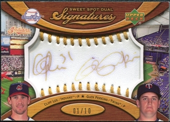 2007 Upper Deck Sweet Spot Dual Signatures Gold Stitch Gold Ink #LP Cliff Lee Glen Perkins /10