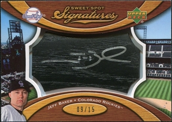 2007 Upper Deck Sweet Spot Signatures Black Bat Barrel Silver Ink #JB Jeff Baker /15