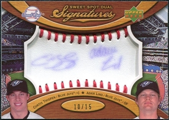 2007 Upper Deck Sweet Spot Dual Signatures Red Stitch Blue Ink #TL Curtis Thigpen / Adam Lind /15