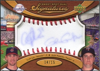 2007 Upper Deck Sweet Spot Dual Signatures Red Stitch Blue Ink #LP Cliff Lee Glen Perkins /15