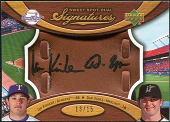 2007 Upper Deck Sweet Spot Dual Signatures Glove Leather Black Ink #KU Ian Kinsler Dan Uggla /15