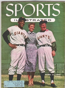 Sports Illustrated April 11, 1955 Mays & Durocher N.Y. Giants w/ Topps Cards