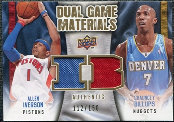 2009/10 Upper Deck Game Materials Dual Gold #DGIB Allen Iverson Chauncey Billups /150