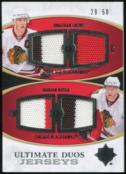 2010/11 Upper Deck Ultimate Collection Ultimate Jerseys Duos #UDJHT Marian Hossa Jonathan Toews 29/50