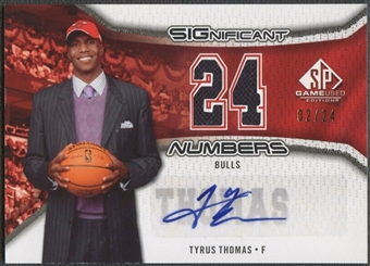 2006/07 SP Game Used #TT Tyrus Thomas Significant Numbers Jersey Auto #02/24