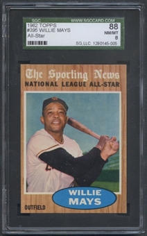 1962 Topps Baseball #395 Willie Mays All Star SGC 88 (NM/MT 8) *5005