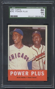 1963 Topps Baseball #242 Power Plus (Banks/Aaron) SGC 86 (NM+ 7.5) *5007